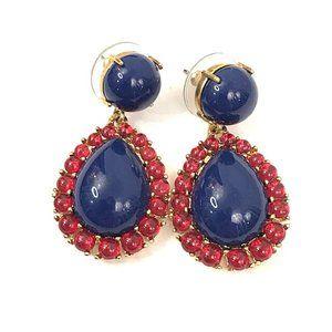 J. Crew Blue Enamel Red Rhinestone Drop Earrings